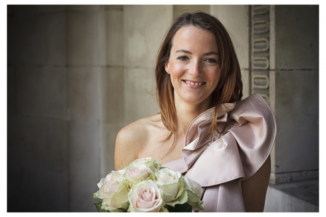 French bride poses for pictures at Westminster Town Hall