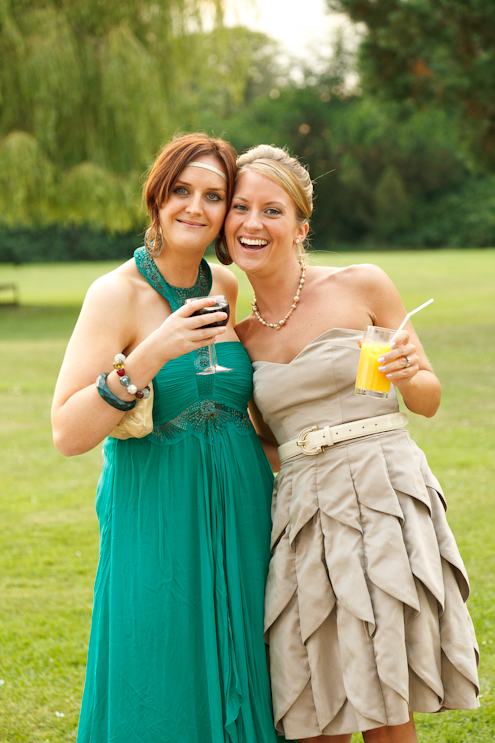 Wedding guests enjoying a glass at the reception in Kent