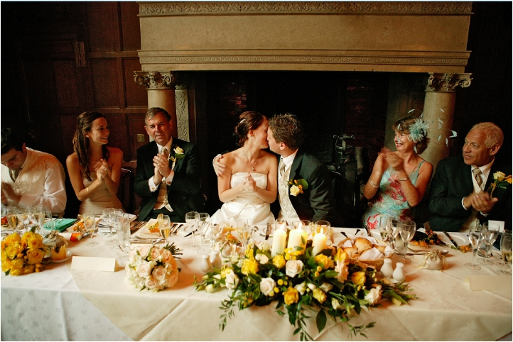 Newbury Wedding - Groom Kisses Bride, Top Table