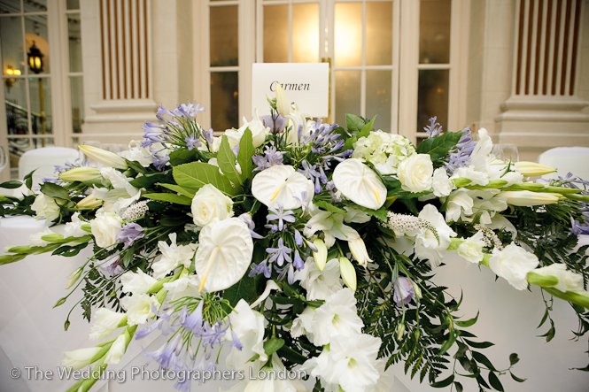 Wedding Photographer Westminster Top Table Centrepiece Flower Arrangement